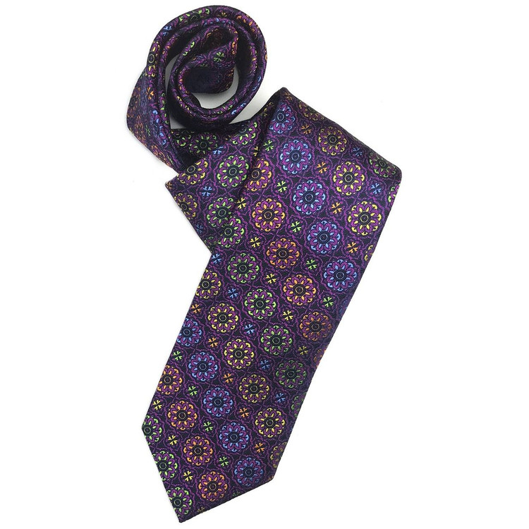 Fall 2017 Best of Class Black and Multi Medallion 'Welch Margetson' Woven Silk Tie by Robert Talbott