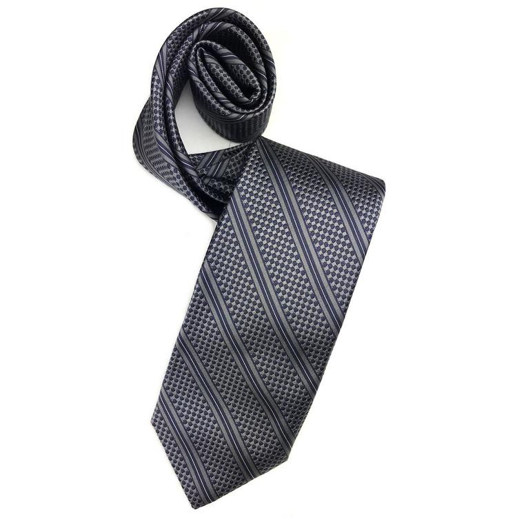 Fall 2017 Best of Class Grey and Navy Dot-and-Stripe 'Academy' Woven Silk Tie by Robert Talbott