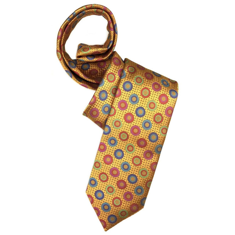 Fall 2017 Best of Class Orange and Multi Circles 'Welch Margetson' Woven Silk Tie by Robert Talbott