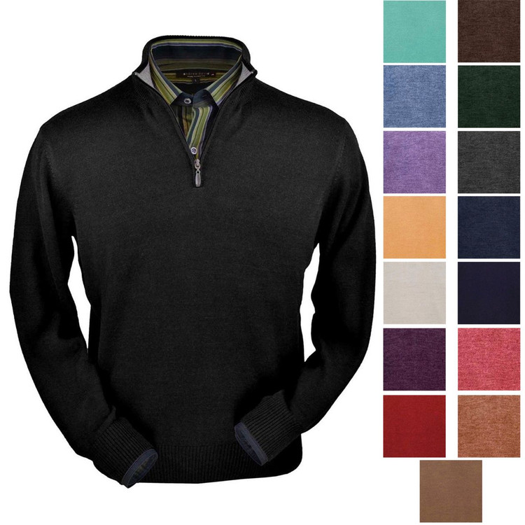 Royal Alpaca Half-Zip Sweater in Choice of Colors by Peru Unlimited