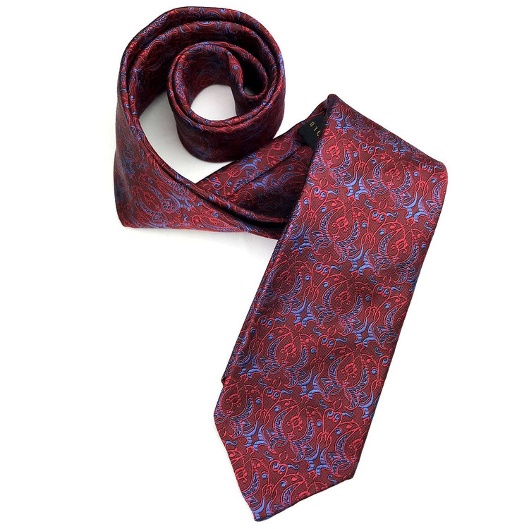 Fall 2017 Red and Blue 'Sudbury' Seven Fold Woven Silk Tie by Robert Talbott