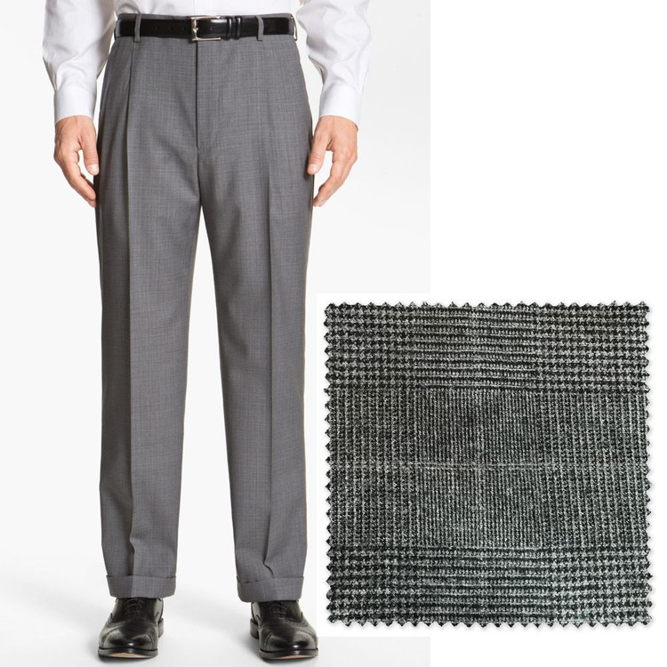 'Bennett' Double Reverse Pleat Wool Flannel Pant in Black and White Prince of Wales Plaid (Size 40 Only) by Zanella