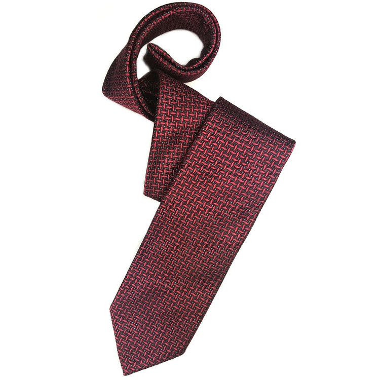Fall 2017 Red, Burgundy, and Blue Geometric 'Sudbury' Seven Fold Woven Silk Tie by Robert Talbott