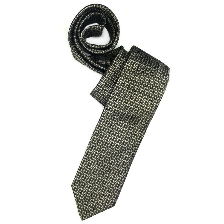 Taupe and Blue Geometric 'Sudbury' Seven Fold Woven Silk Tie by Robert Talbott