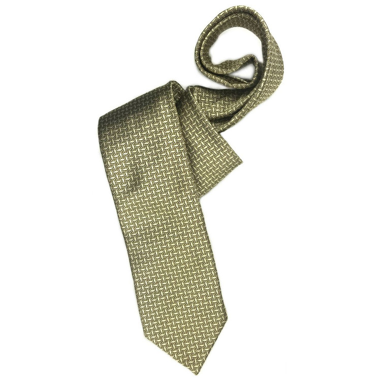 Fall 2017 Gold, Black, and Blue Geometric 'Sudbury' Seven Fold Woven Silk Tie by Robert Talbott