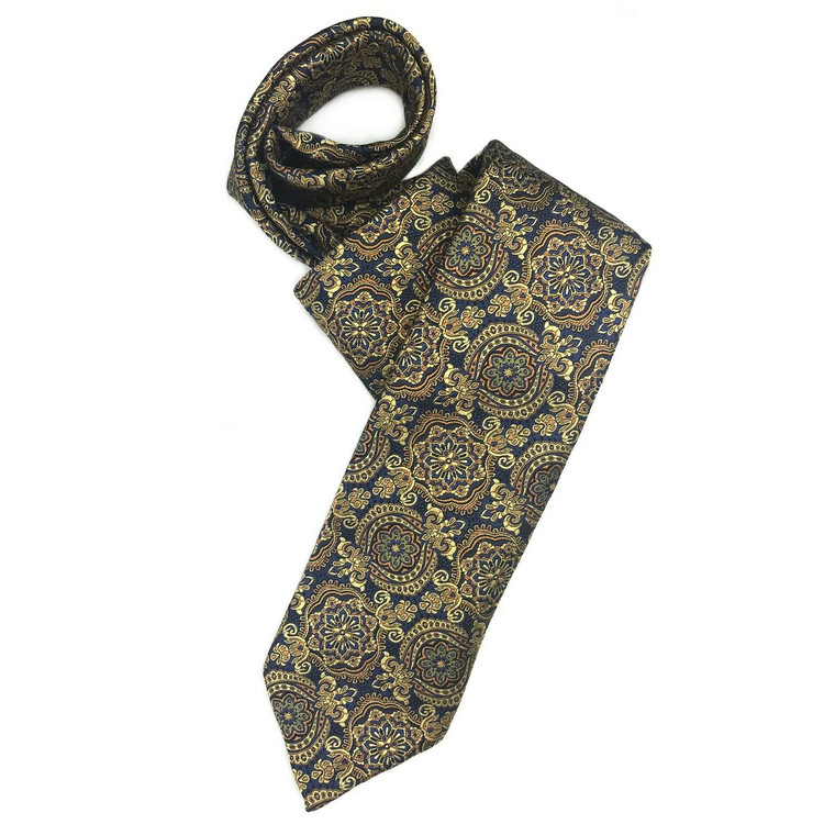 Fall 2017 Navy and Gold Medallion 'Sudbury' Seven Fold Woven Silk Tie by Robert Talbott