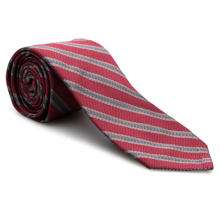 Red and Grey Stripe 'Sudbury' Seven Fold Woven Silk Tie by Robert Talbott