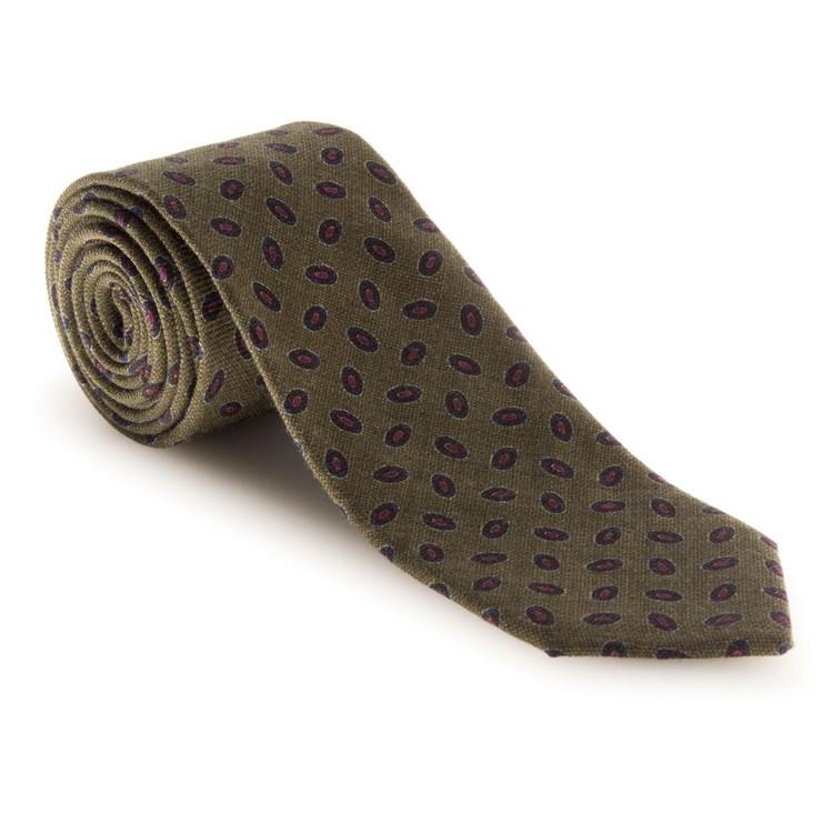 Best of Class Olive, Navy, and Raspberry Neat 'Carmel Print' Wool Tie by Robert Talbott