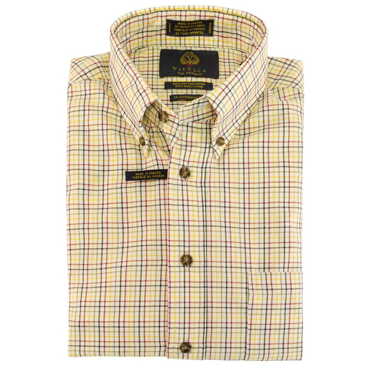 Cream, Red, Olive, Sage, and Lemon Plaid Button-Down Shirt (Size XX-Large) by Viyella
