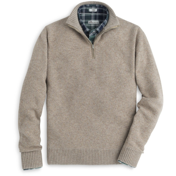 Mountainside Wool and Cashmere Blend Donegal Quarter-Zip Sweater in Acorn by Peter Millar