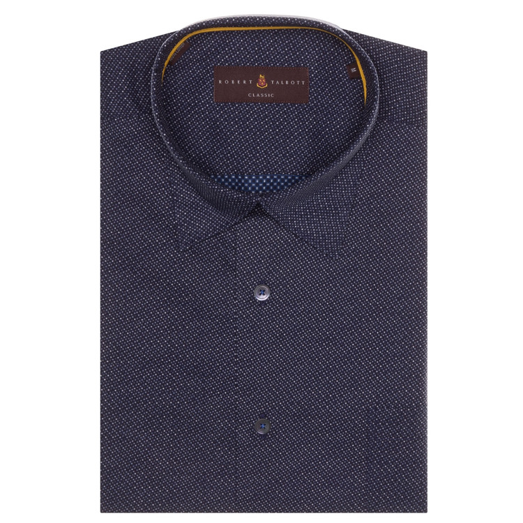 Navy with Dots 'Anderson II' Sport Shirt by Robert Talbott
