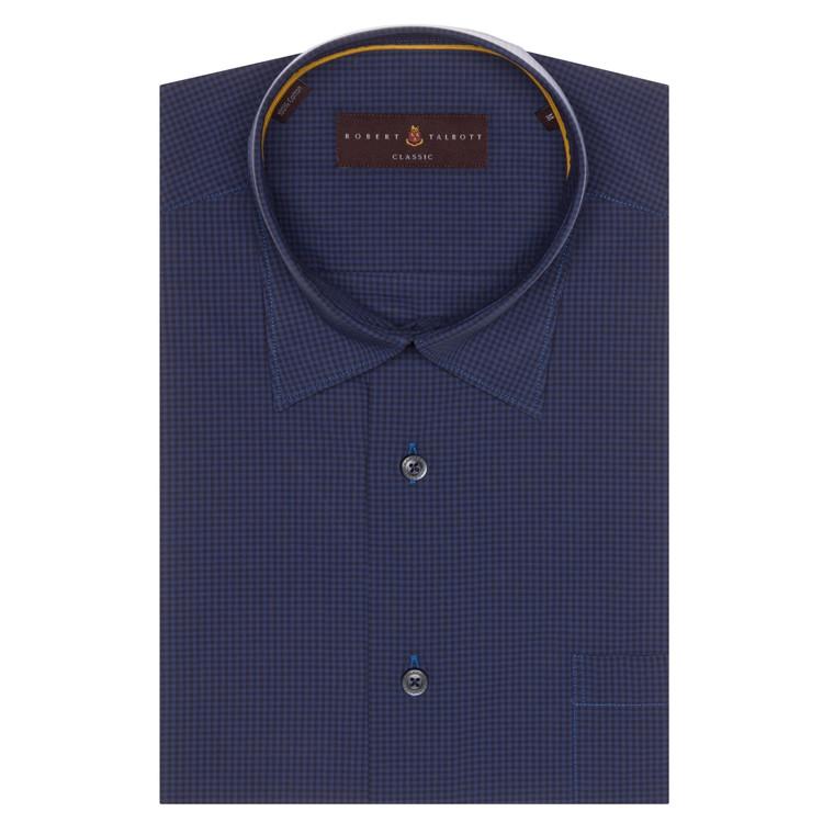 Navy and Blue Check 'Anderson II' Sport Shirt by Robert Talbott