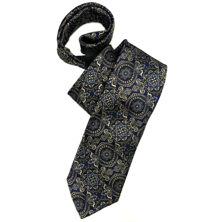 Blue, Brown, and Pale Gold Medallion 'Sudbury' Seven Fold Woven Silk Tie by Robert Talbott