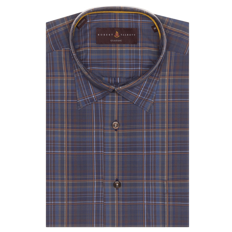 Fall 2017 Navy and Brown Plaid 'Anderson II' Sport Shirt by Robert Talbott