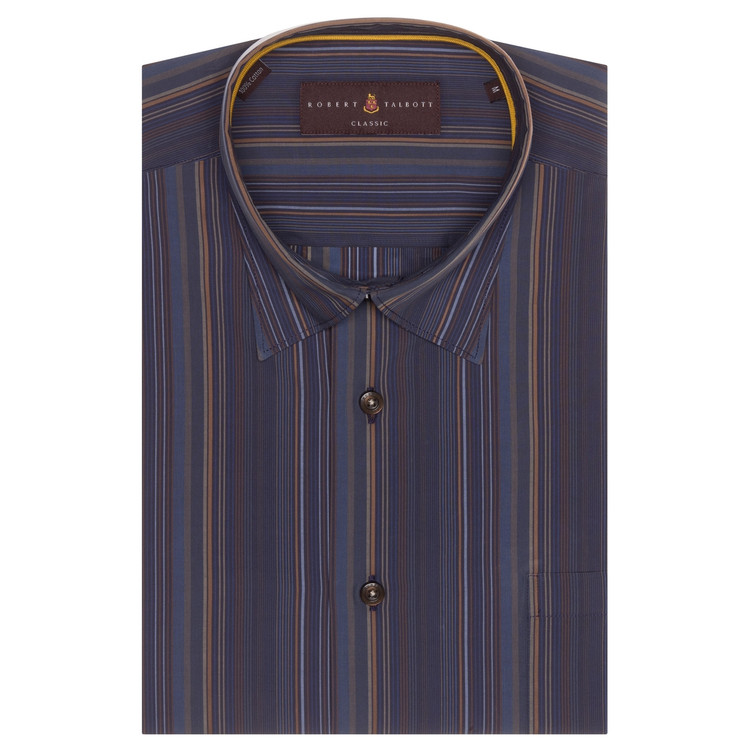 Fall 2017 Navy and Brown Stripe 'Anderson II' Sport Shirt by Robert Talbott