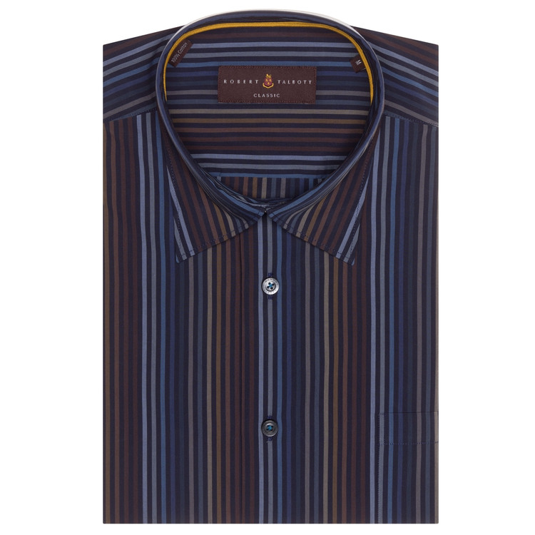 Fall 2017 Navy, Brown, and Blue Stripe 'Anderson II' Sport Shirt by Robert Talbott