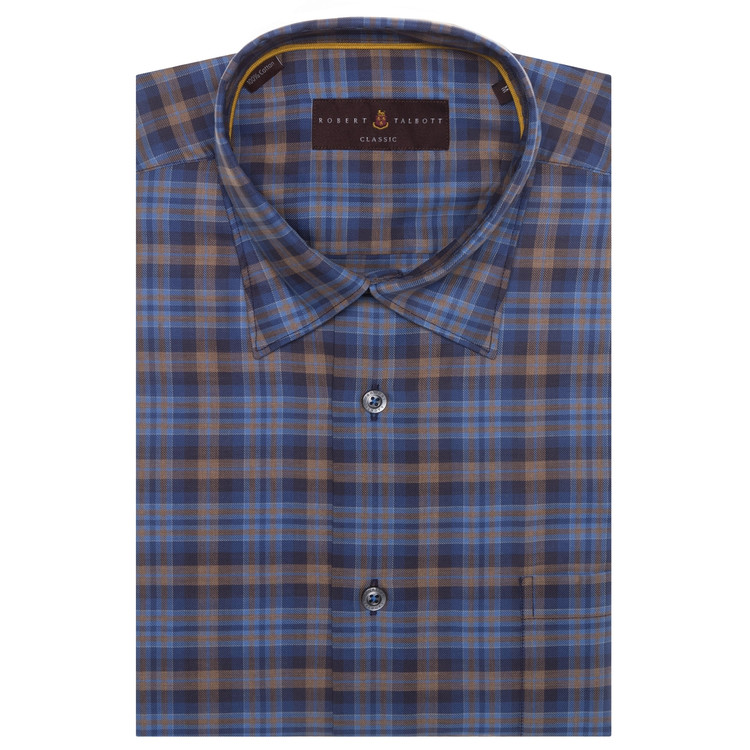 Fall 2017 Blue, Tan, and Brown Plaid 'Anderson II' Sport Shirt by Robert Talbott