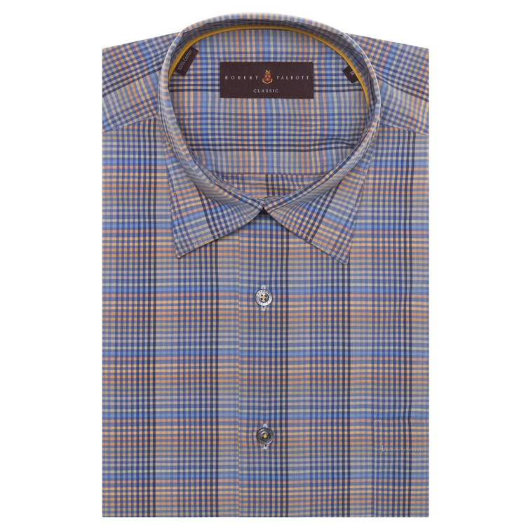 Blue, Sand, and Orange Plaid 'Anderson II' Sport Shirt by Robert Talbott