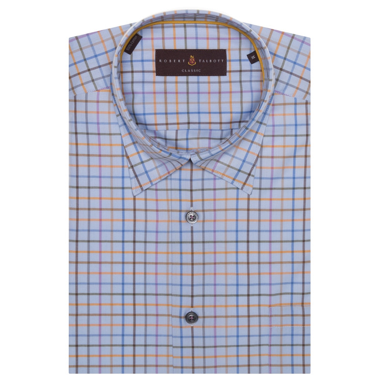 Blue, Orange, and Lilac Plaid 'Anderson II' Sport Shirt by Robert Talbott