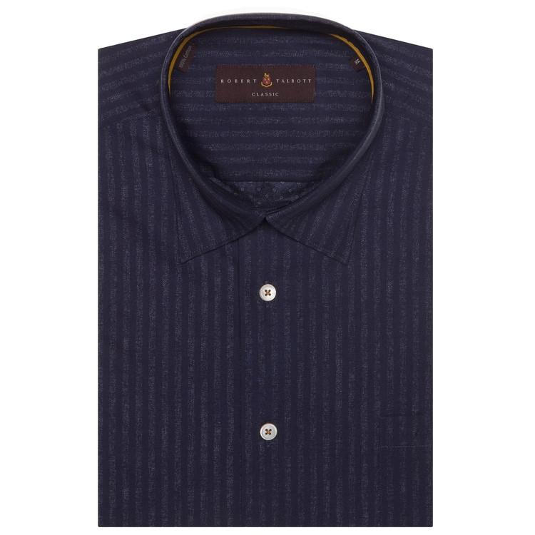 Navy Stripe 'Anderson II' Sport Shirt by Robert Talbott