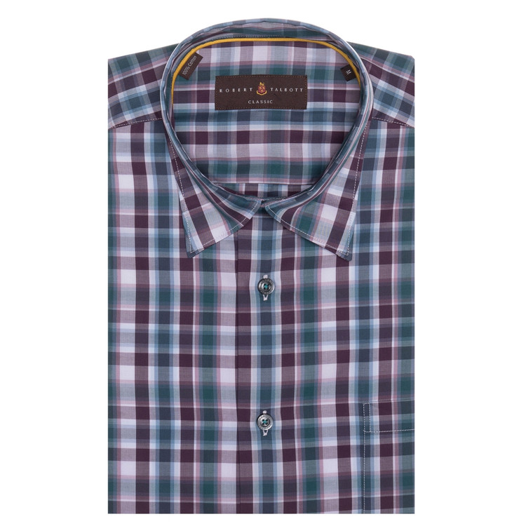 Fall 2017 Plum, Blue, and Lilac Plaid 'Anderson II' Sport Shirt by Robert Talbott