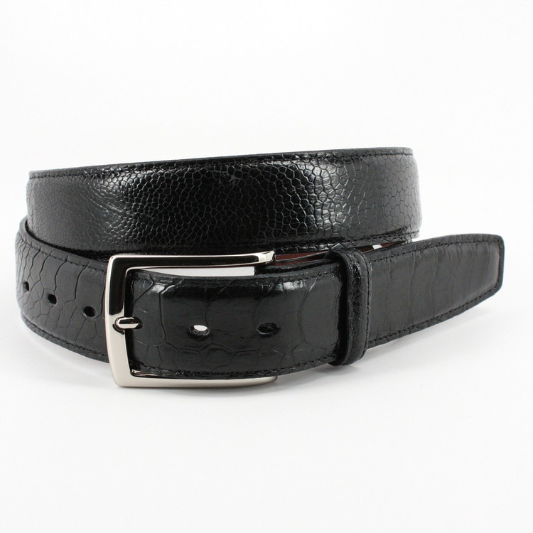 Genuine South African Ostrich Leg Belt in Black by Torino Leather Co.
