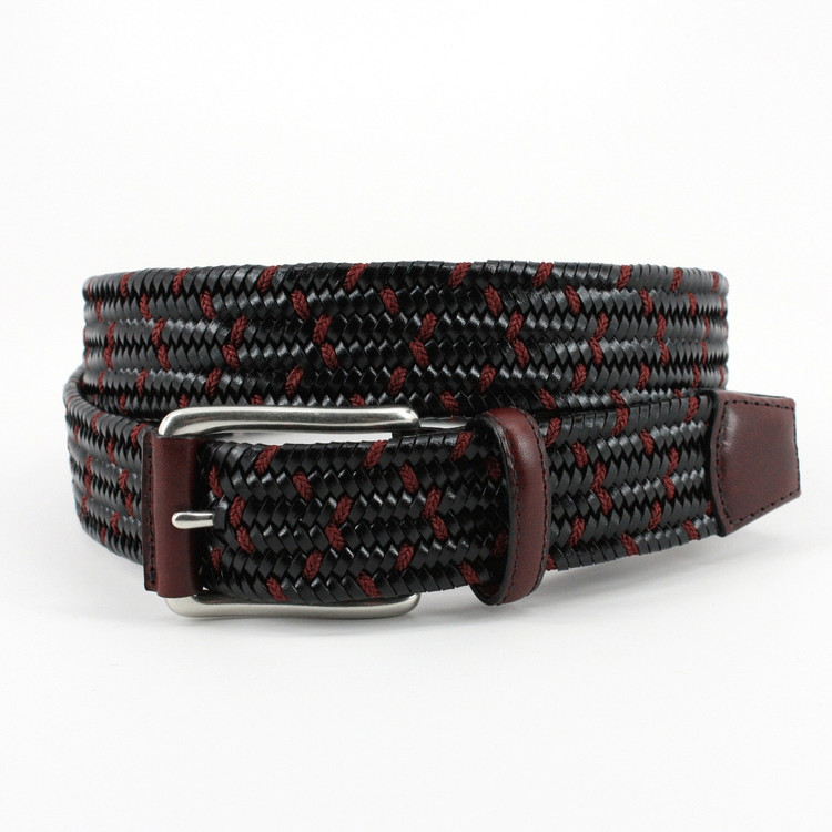 Italian Woven Stretch Leather Belt in Black and Burgundy by Torino Leather Co.