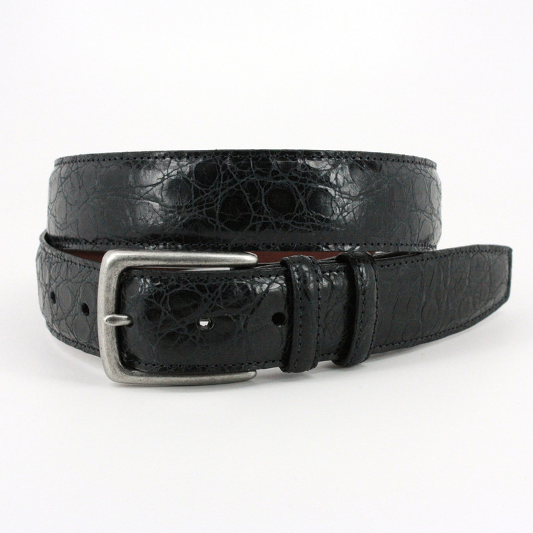 Rustic Hand Stained Gator Embossed Calfskin Belt in Black by Torino Leather Co.