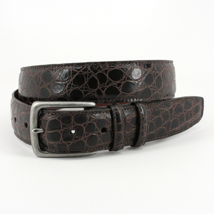 Rustic Hand Stained Gator Embossed Calfskin Belt in Brown by Torino Leather Co.