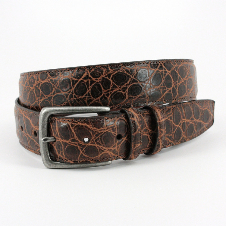 Rustic Hand Stained Gator Embossed Calfskin Belt in Cognac by Torino Leather Co.