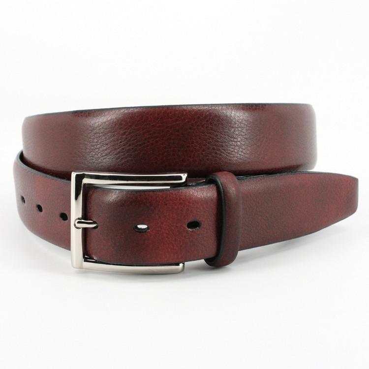 Italian Glazed Milled Calfskin Belt in Antiqued Black by Torino Leather Co.