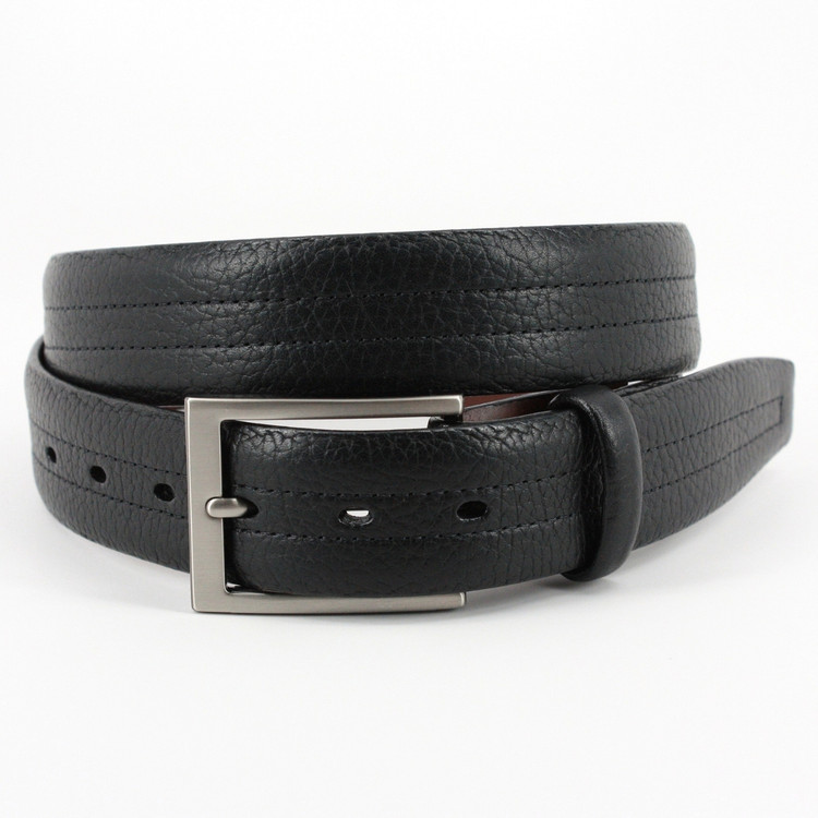 American Bison Center Stitched Leather Belt in Black by Torino Leather Co.