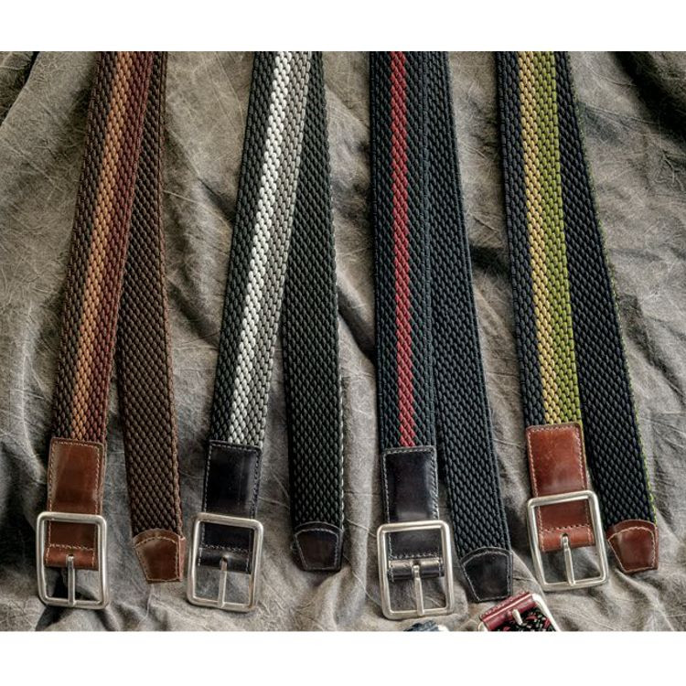 Italian Woven Tri-Color Rayon Elastic Reversible Belt in Choice of Colors by Torino Leather Co.