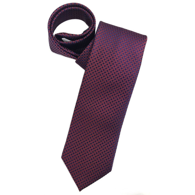 Ruby and Navy Geometric Dots 'Robert Talbott Protocol' Hand Sewn Woven Silk Tie by Robert Talbott