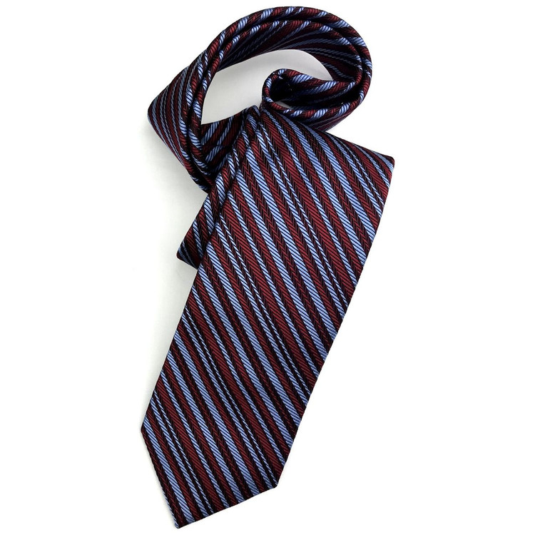 Fall 2017 Best of Class Red and Blue Stripe 'Academy' Woven Silk Tie by Robert Talbott