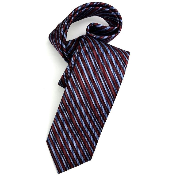 Best of Class Red and Blue Stripe 'Academy' Woven Silk Tie by Robert Talbott
