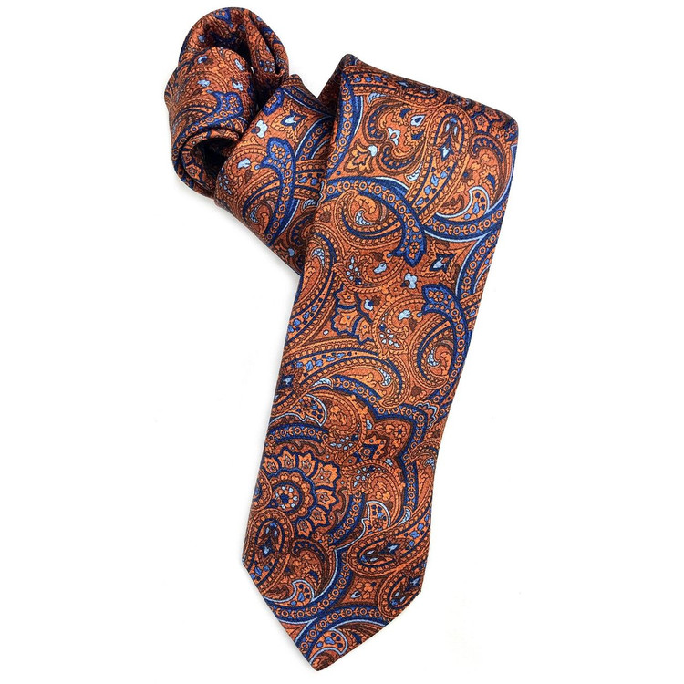 Orange and Blue Paisley 'Ambassador Print' Woven Silk Estate Tie by Robert Talbott