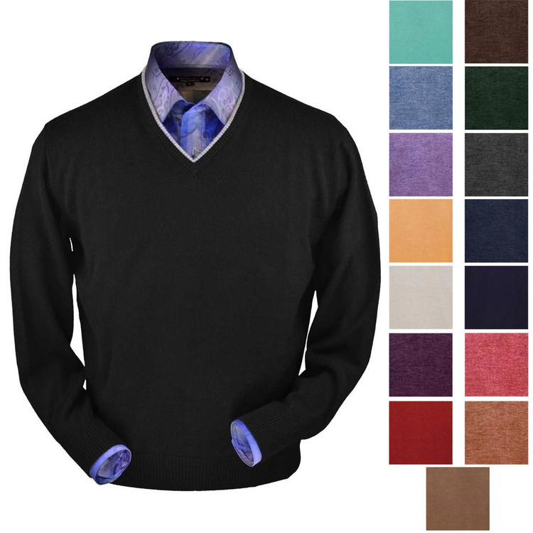 Royal Alpaca V-Neck Sweater in Choice of Colors by Peru Unlimited