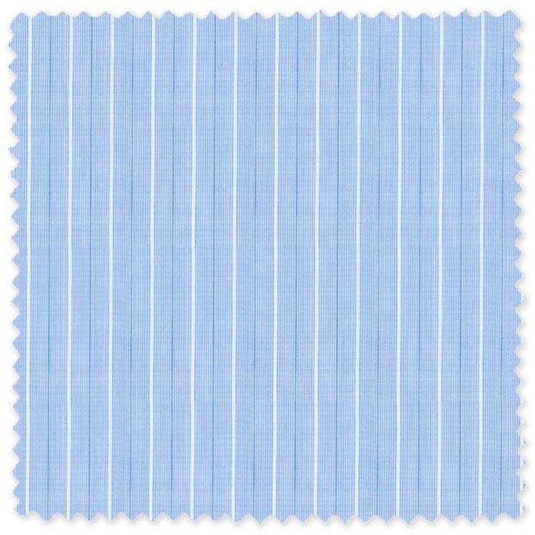 Blue and White Stripe 'Thomas Mason' 140's Cotton Broadcloth Custom Dress Shirt by Skip Gambert