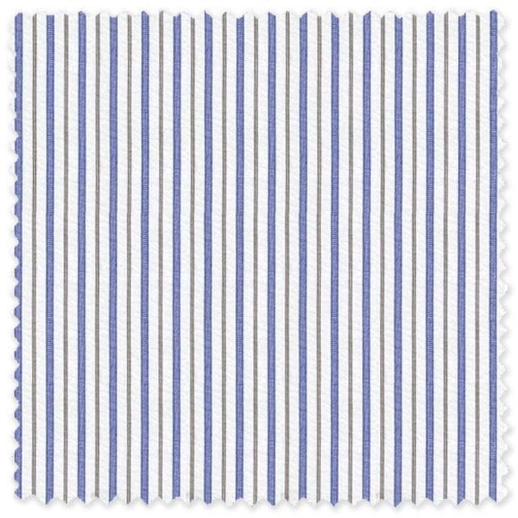 Blue and Thin Brown Stripe 'Grandi & Rubinelli' Cotton Broadcloth Custom Dress Shirt by Skip Gambert