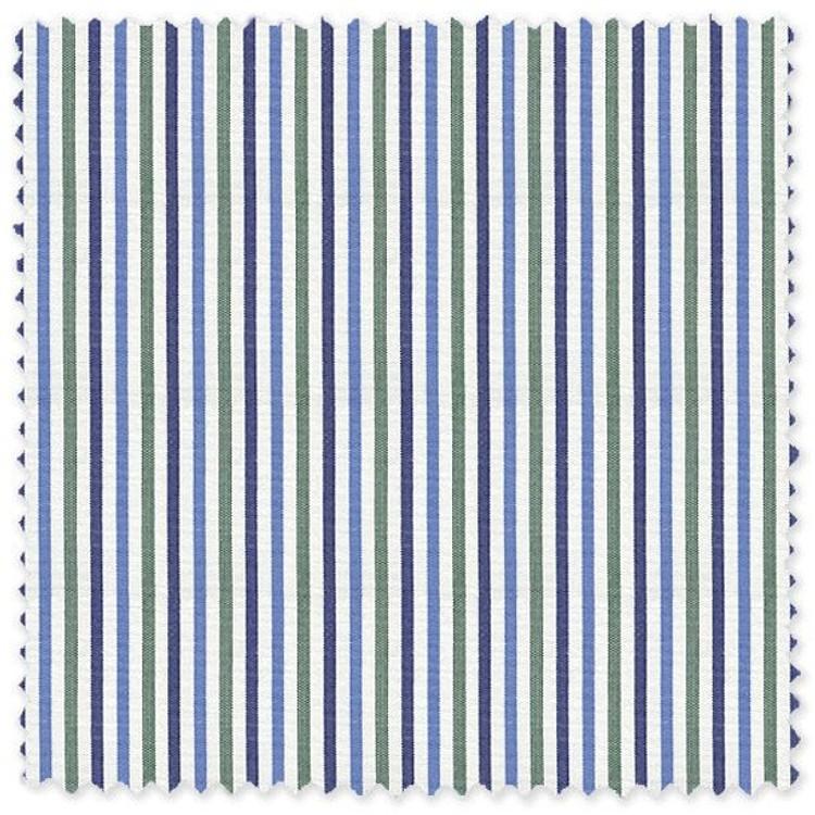 Blue and Green Stripe 'Grandi & Rubinelli' Cotton Broadcloth Custom Dress Shirt by Skip Gambert