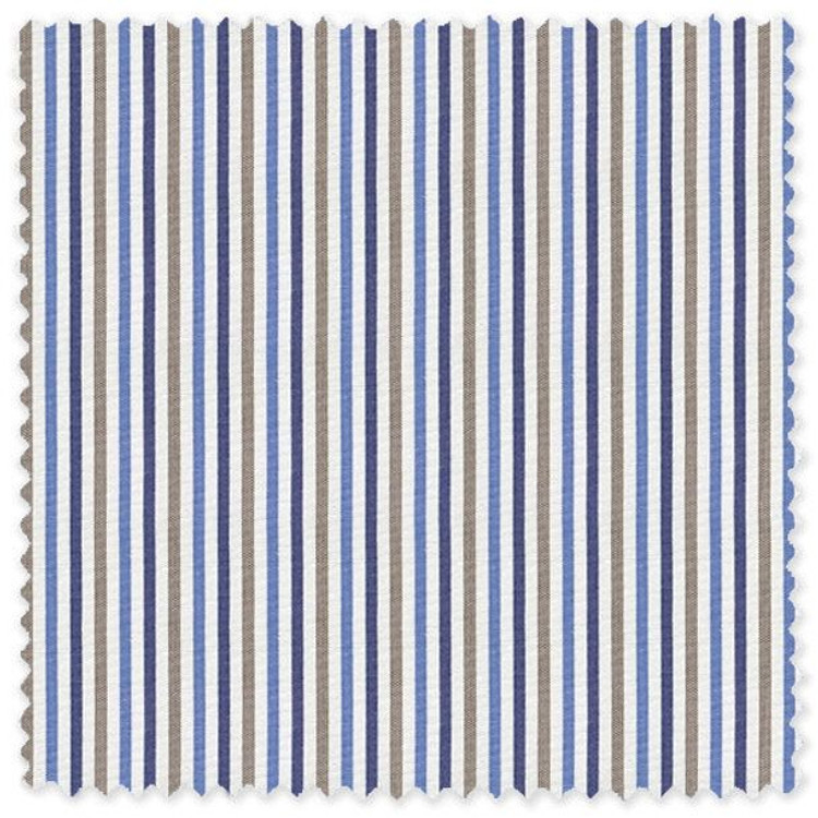 Blue and Brown Stripe 'Grandi & Rubinelli' Cotton Broadcloth Custom Dress Shirt by Skip Gambert