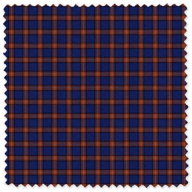 Blue and Orange Check Cotton Twill Custom Dress Shirt by Skip Gambert
