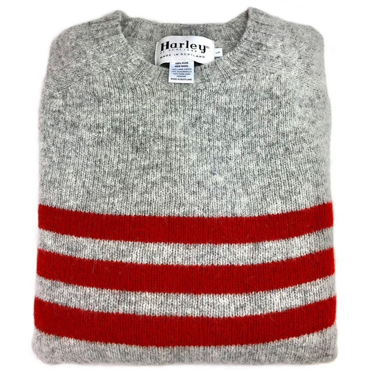 Shetland Saddle Shoulder Crew Neck Sweater with Stripe in Silver and Scarlet by Harley of Scotland