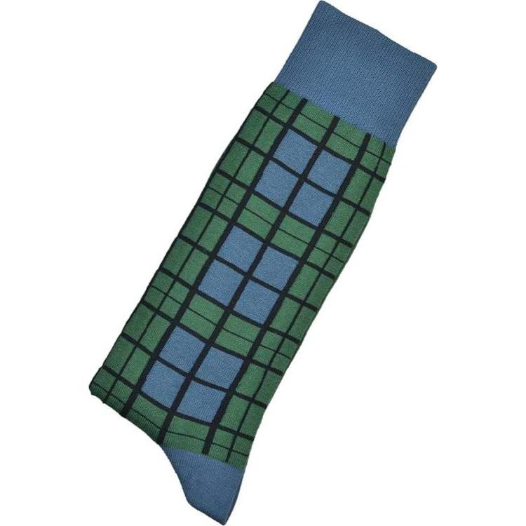 Hunter and Blue Tartan Peruvian Pima Cotton Socks (Mid-Calf) by Byford
