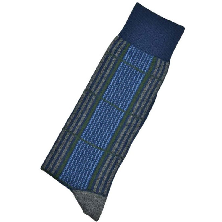 Blue, Grey, and Green Check Peruvian Pima Cotton Socks (Mid-Calf) by Byford