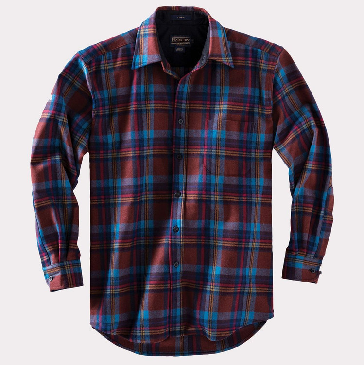 Rust and Turquoise Plaid Lodge Shirt by Pendleton