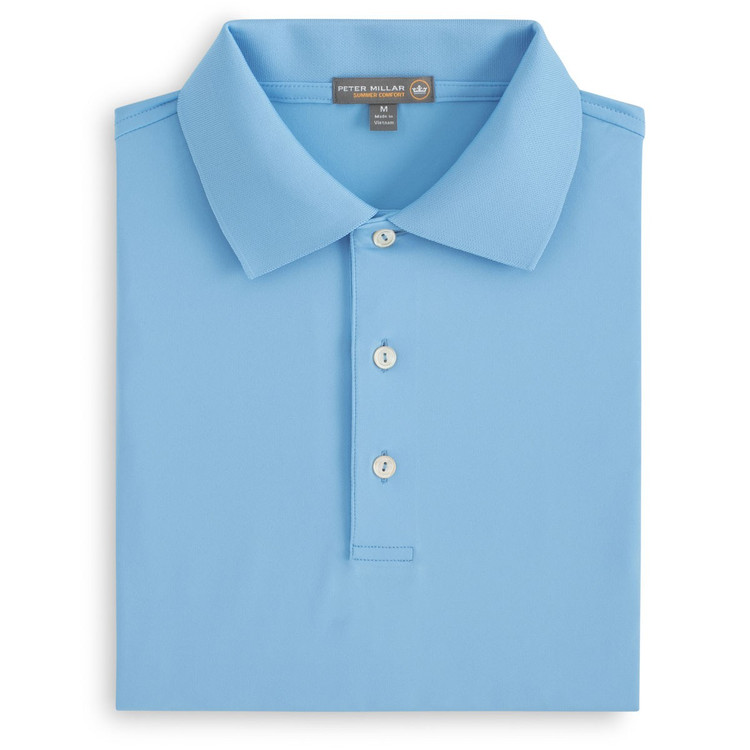 Solid Stretch Jersey 'Crown Sport' Performance Polo with Knit Collar in Grotto Blue by Peter Millar
