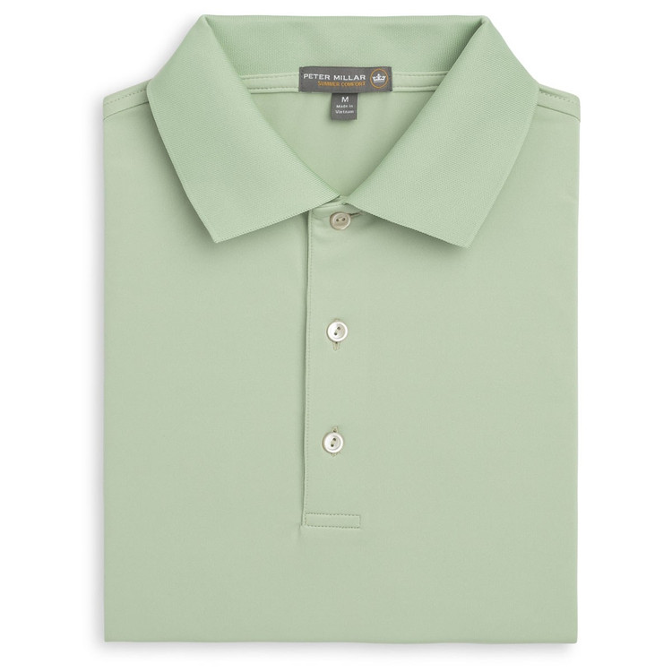 Solid Stretch Jersey 'Crown Sport' Performance Polo with Knit Collar in Pipeline by Peter Millar