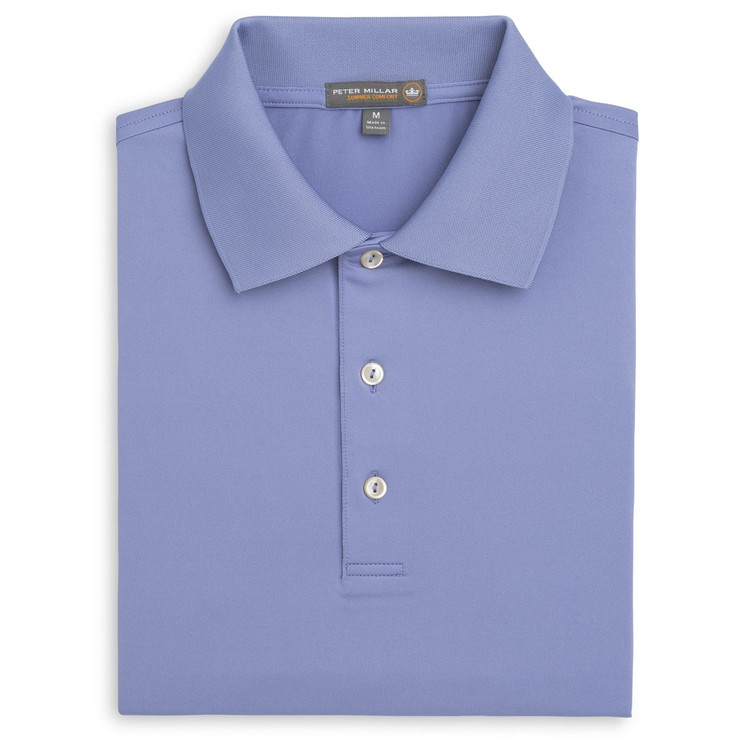 Solid Stretch Jersey 'Crown Sport' Performance Polo with Knit Collar in Thunderbird by Peter Millar